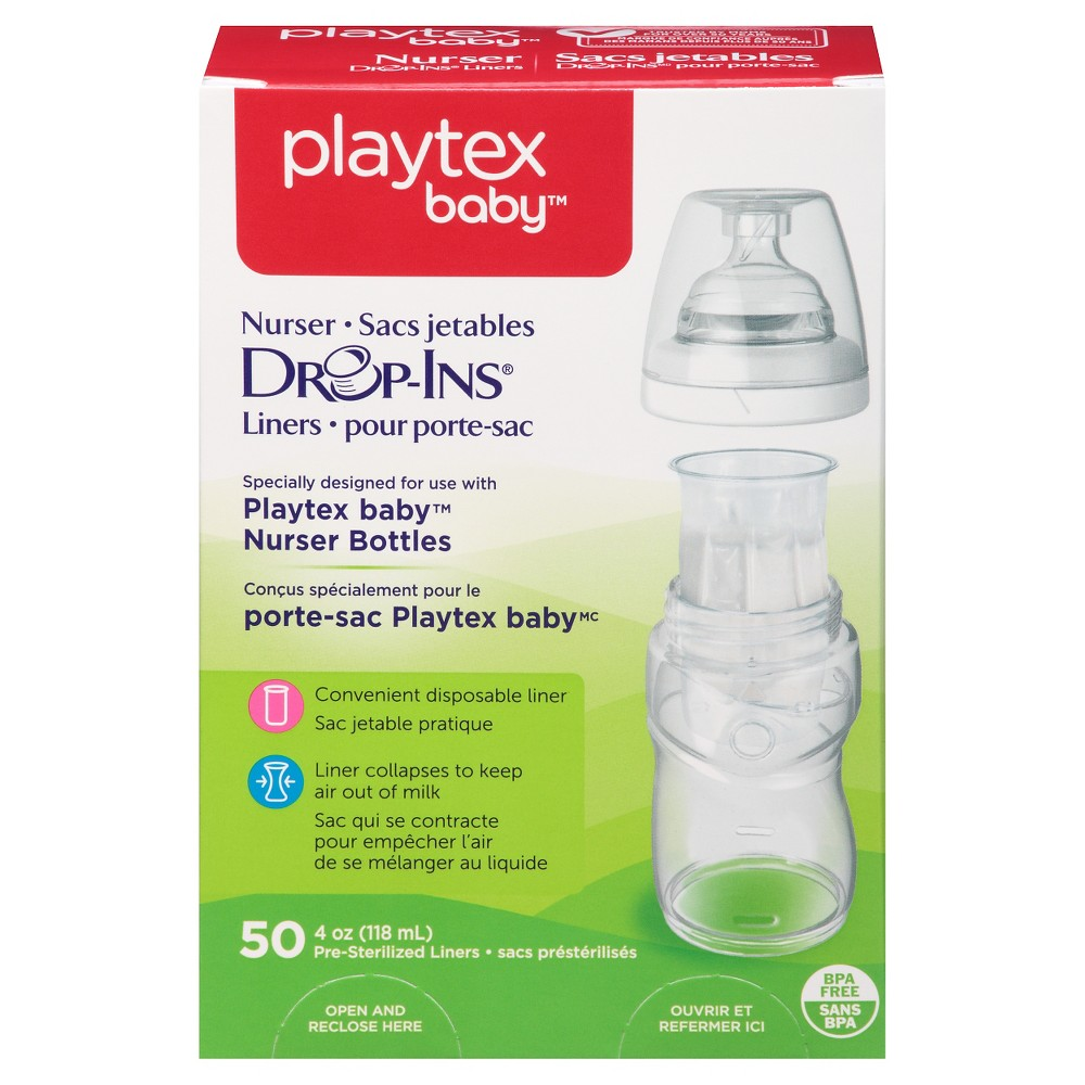 Image of Playtex Baby Drop-Ins Liners For Playtex Baby Nurser Bottles 4oz - 50ct