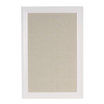 "19"" x 28"" Bosc Framed Linen Fabric Pinboard White - DesignOvation"