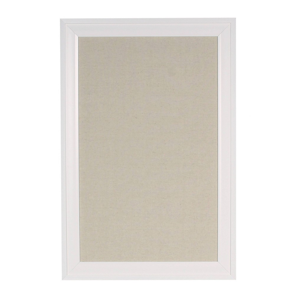 "Image of ""15"""" x 24"""" Bosc Fabric Pinboard White - DesignOvation"""
