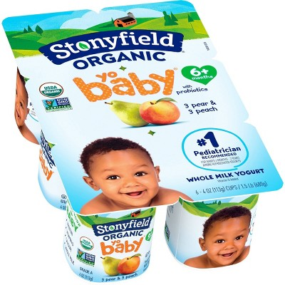 Stonyfield Organic YoBaby Peach & Pear Kids' Greek Yogurt - 6ct/4oz Cups