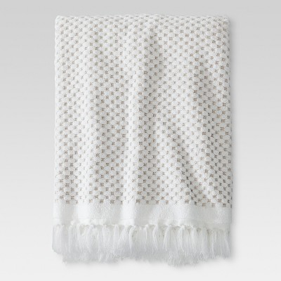 White Knotted Fringe Bath Towel - Threshold™
