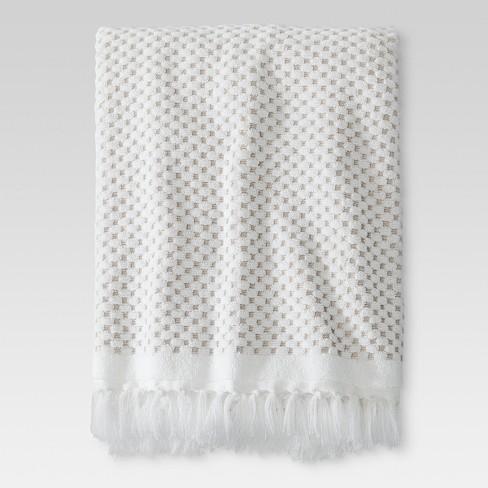 Knotted Fringe Bath Towels White Threshold Target