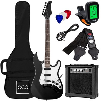 Best Choice Products 39in Full Size Beginner Electric Guitar Kit with Case, Strap, Amp, Whammy Bar