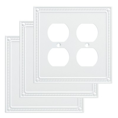 Franklin Brass Classic Beaded Double Duplex Wall Plate White