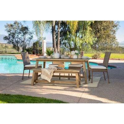 Sierra 6pc Outdoor Eucalyptus Wood Rectangular Dining Set - Natural - Coaster
