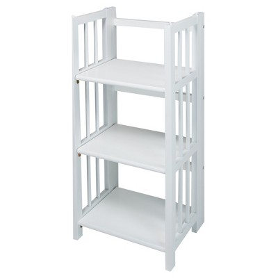 Casual Home 3 Shelf 14 Inch Folding Office Room Wood Furniture Bookcase, White