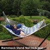 Quilted Hammock with Curved Bamboo Spreader Bars - Navy and Gray Tiled Octagon - Sunnydaze Decor - image 3 of 4