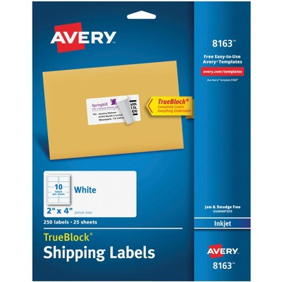 Avery Permanent-Adhesive Shipping Labels with TrueBlock Technology, Laser and Inkjet Printers, 2 x 4 Inches, White, Box of 250