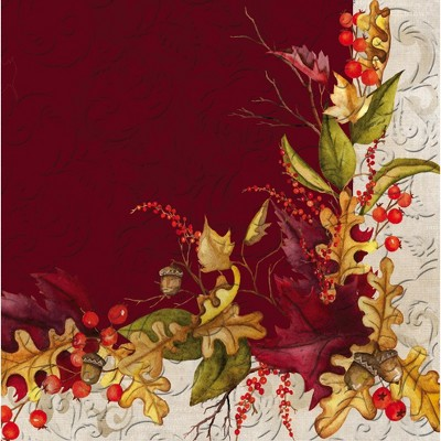 Evergreen Autumn Foliage Embossed Paper Cocktail Napkins, 20 count