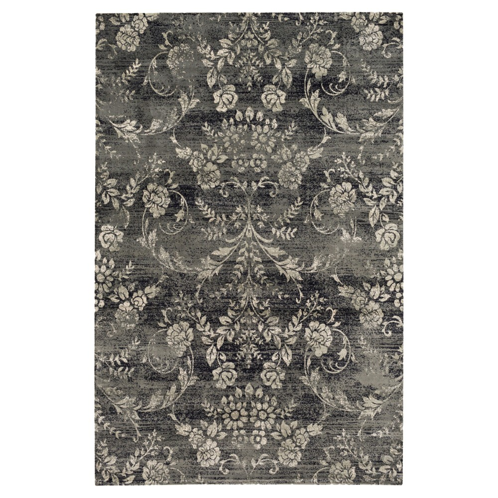 Navy (Blue) Abstract Tufted Area Rug - (5'1