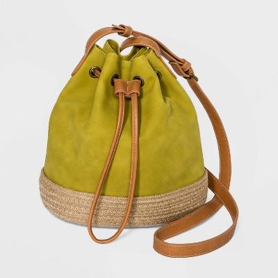 Straw Drawstring Closure Bucket Bag - Universal Thread™
