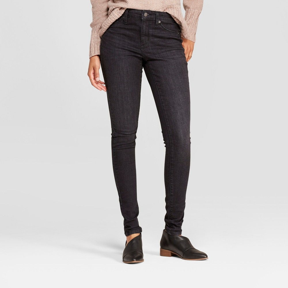 Women's High-Rise Jeggings - Universal Thread Black Wash 12 Long