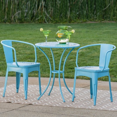 Lourdes 3pc Cast Iron Patio Bistro Set - Matte Blue - Christopher Knight Home