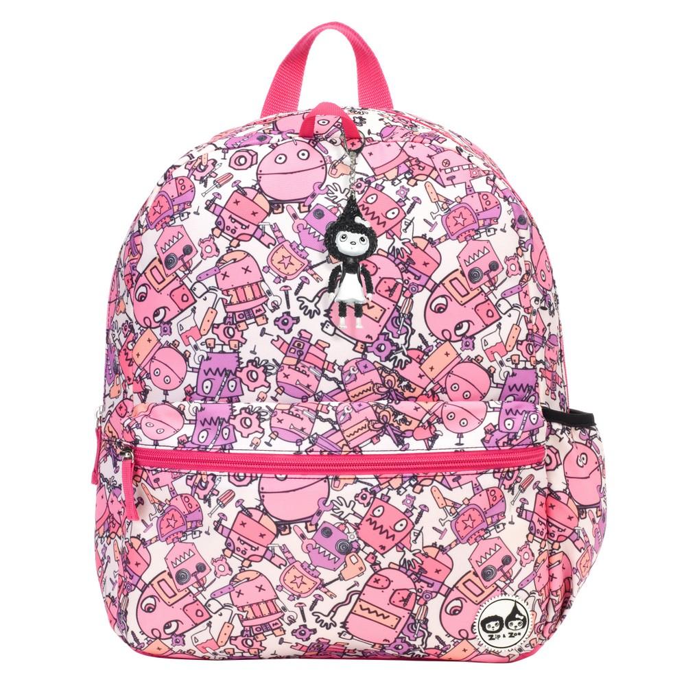 """Image of """"Zip & Zoe Junior 15"""""""" Kids' Backpack - Robots Pink, Kids Unisex, Size: Small"""""""