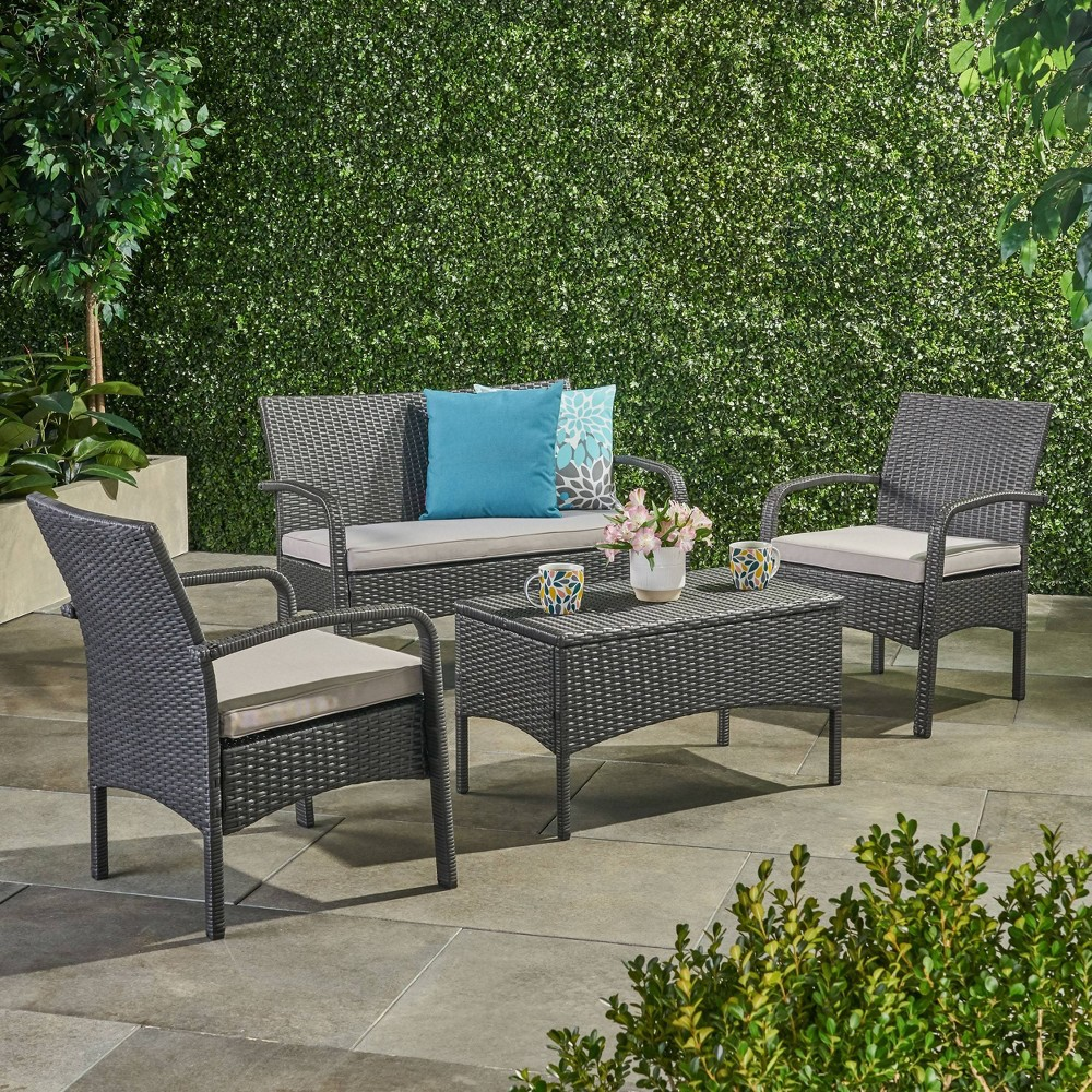 Cordoba 4pc Wicker Patio Chat Set With Cushions Gray Silver Christopher Knight Home