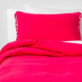3pc Full/Queen Embroidered Tassel Comforter Set Pink - Pillowfort™