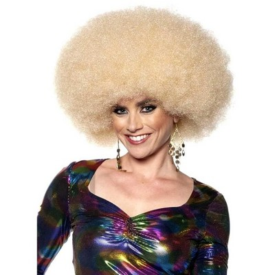 Underwraps Afro One Size Adult Costume Wig | Blonde