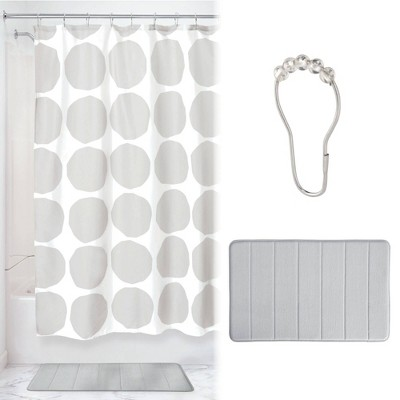 Dot Shower Curtain with Memory Foam Mat and Ring Bundle Gray/White - iDesign
