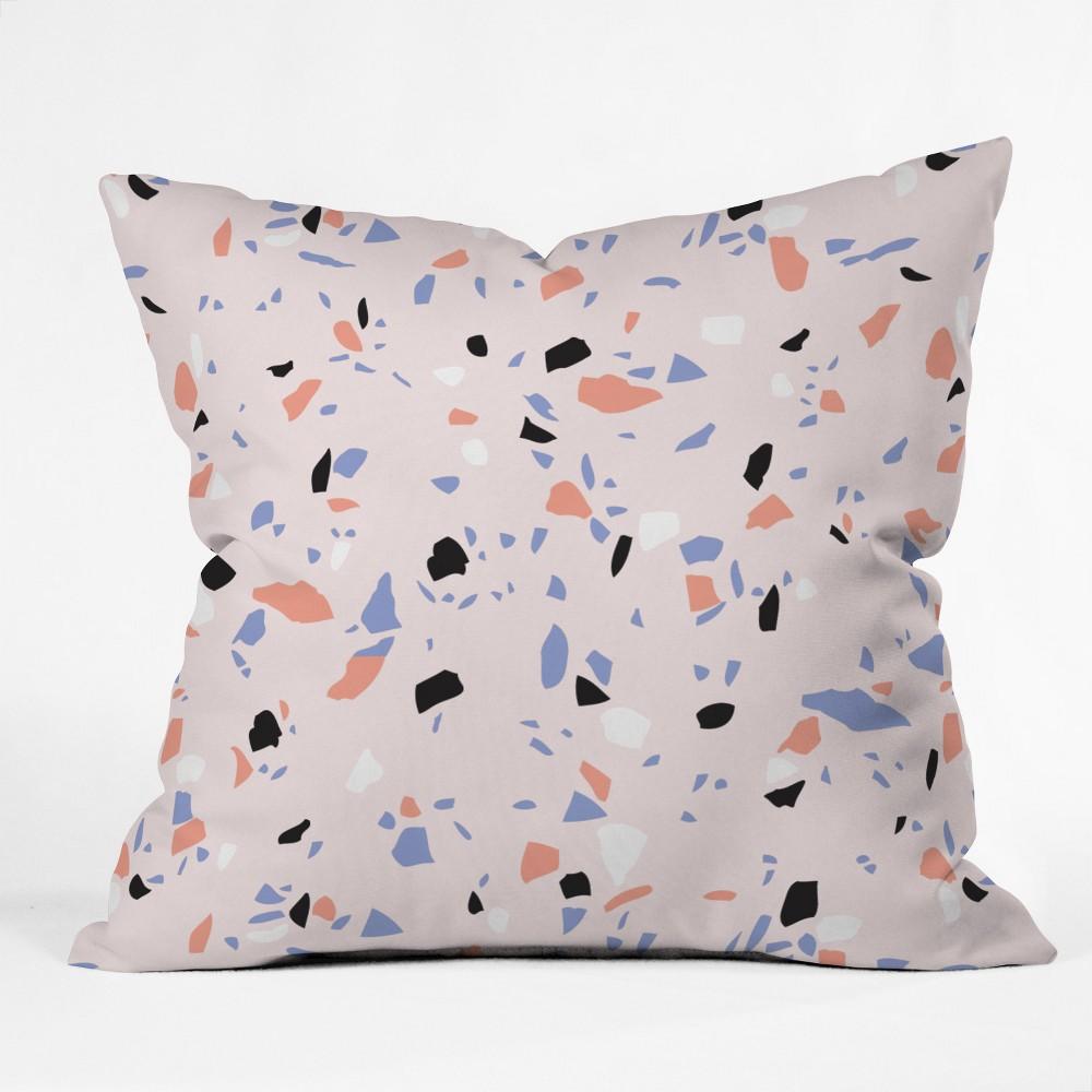 Emanuela Carratoni Terrazzo Style Square Throw Pillow Pink - Deny Designs