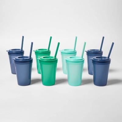 24pc Plastic Tumbler Set with Straws Blue/Green - Pillowfort™