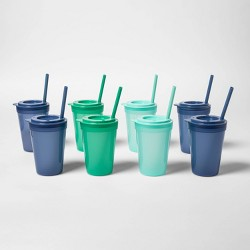 24pc Plastic Tumbler Set with Straws Blue/Green - Pillowfort™