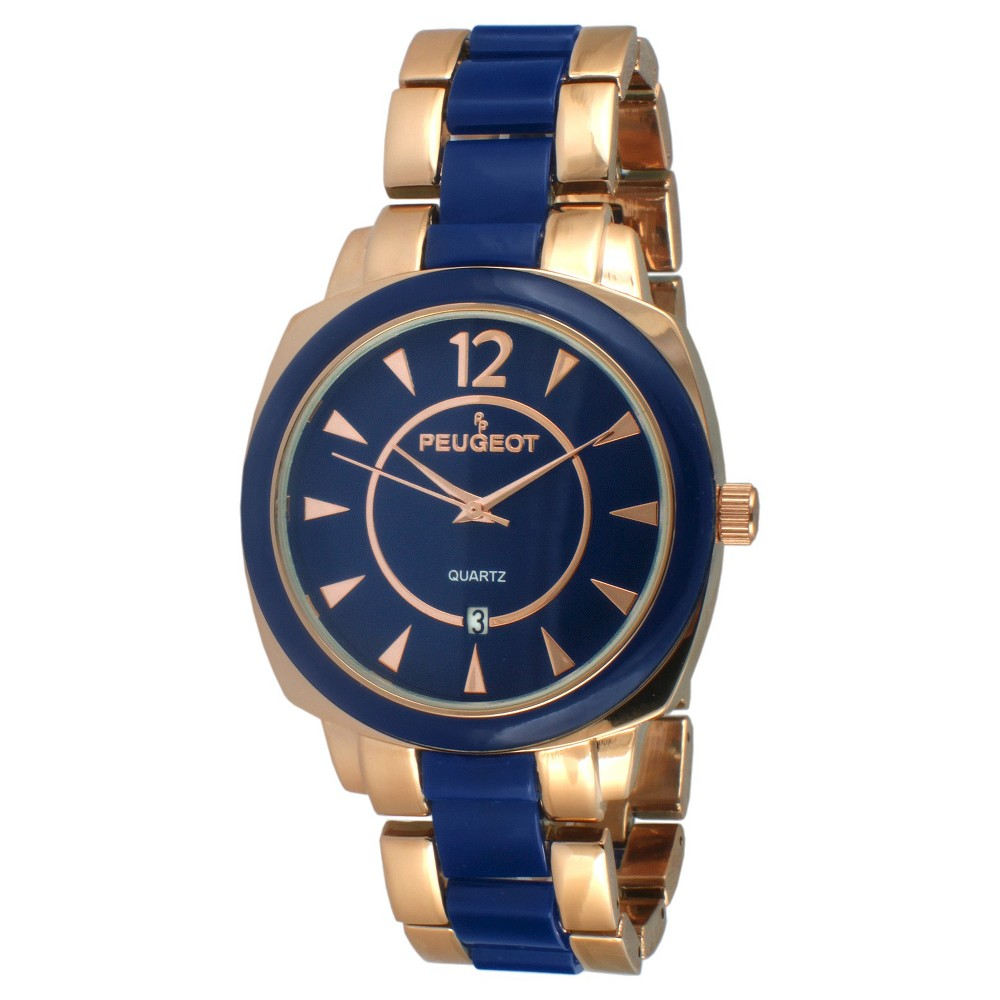 Women' Peugeot Acrylic Link Bracelet Watch - Roe Gold and Blue
