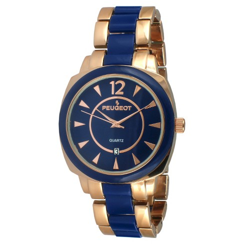 Women's Peugeot® Acrylic Link Bracelet Watch - Rose Gold and  Blue - image 1 of 2