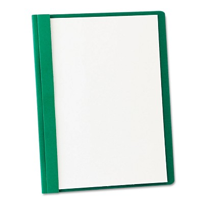"""Oxford Clear Front Report Cover 3 Fasteners Letter 1/2"""" Capacity Green 25/Box 55856"""
