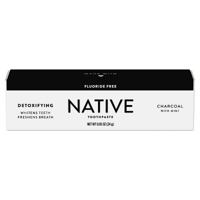 Native Charcoal Fluoride Free Natural Toothpaste - Trial Size - 0.85oz