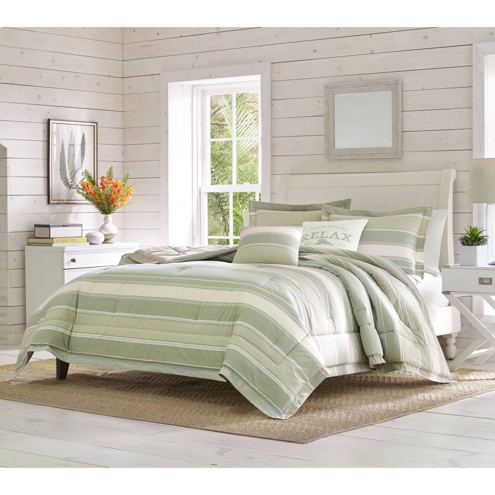 Queen 5pc Serenity Comforter 38 Sham Set Green Tommy Bahama