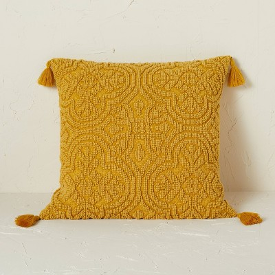 Arabesque Pattern Textured Square Throw Pillow Gold - Opalhouse™ designed with Jungalow™