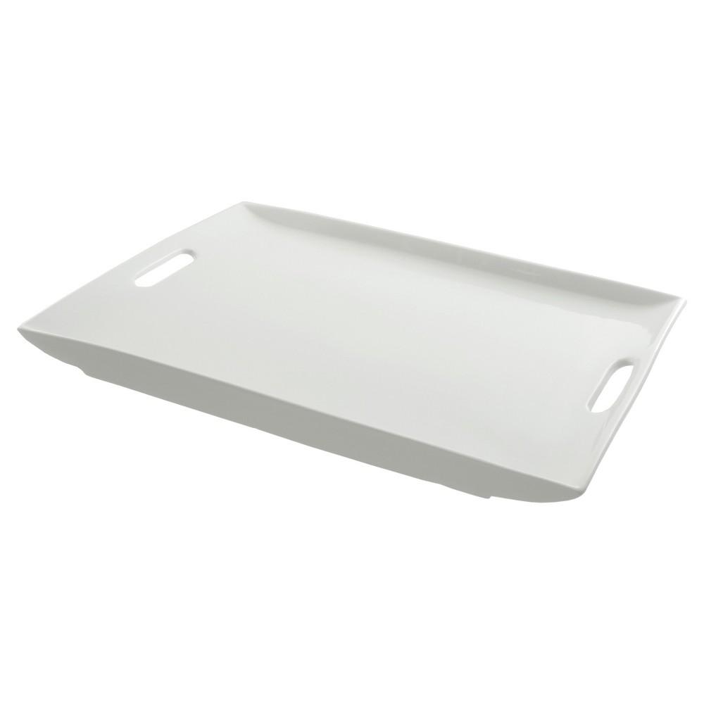 Ten Strawberry Street Rectangular Porcelain Serving Platter with Handles - 20, White