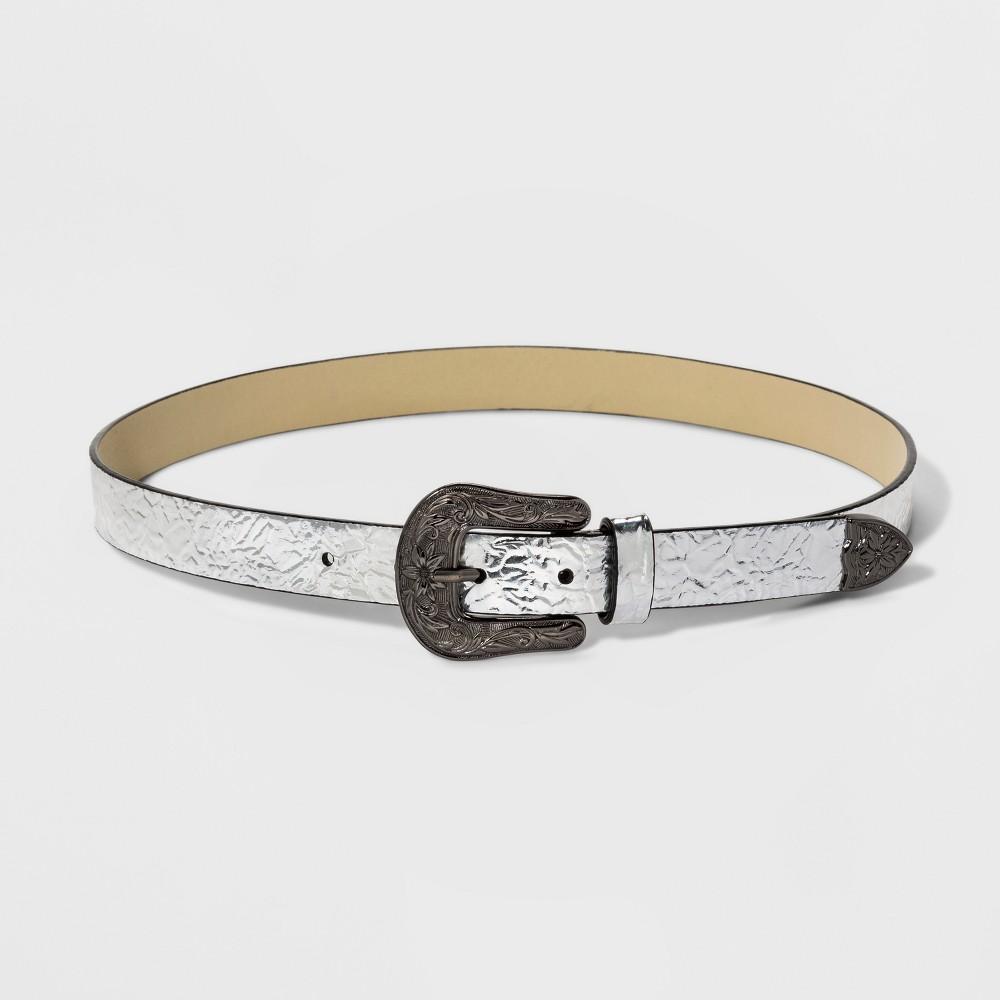 Women's Metallic Western Buckle Belt - Wild Fable S, Silver