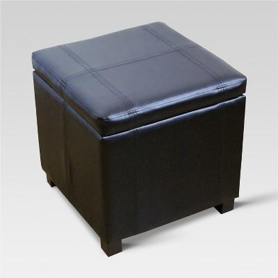 Single Storage Ottoman Stool with Hinge Top Black - Threshold™