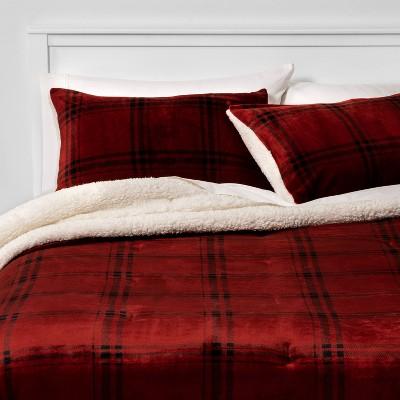 Full/Queen Multi Plaid Plush & Sherpa Comforter & Sham Set Red - Threshold™