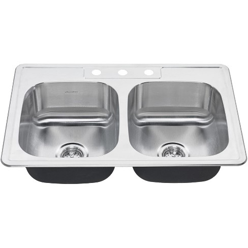 """American Standard 20DB.8332283S Colony 33"""" Double Basin Stainless Steel Kitchen Sink for Drop In Installations - image 1 of 1"""
