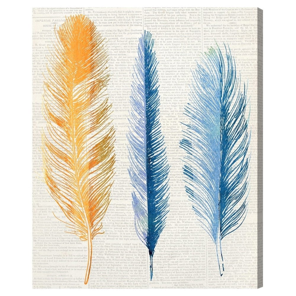 "Image of ""Oliver Gal Unframed Wall """"Autumn Feathers"""" Canvas Art (16x12), Blue"""