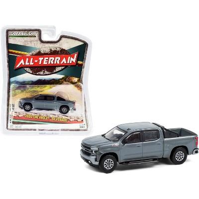 "2020 Chevrolet Silverado Z71 Pickup Truck w/Off-Road Parts Satin Steel Gray Met. ""All Terrain"" 1/64 Diecast Model by Greenlight"