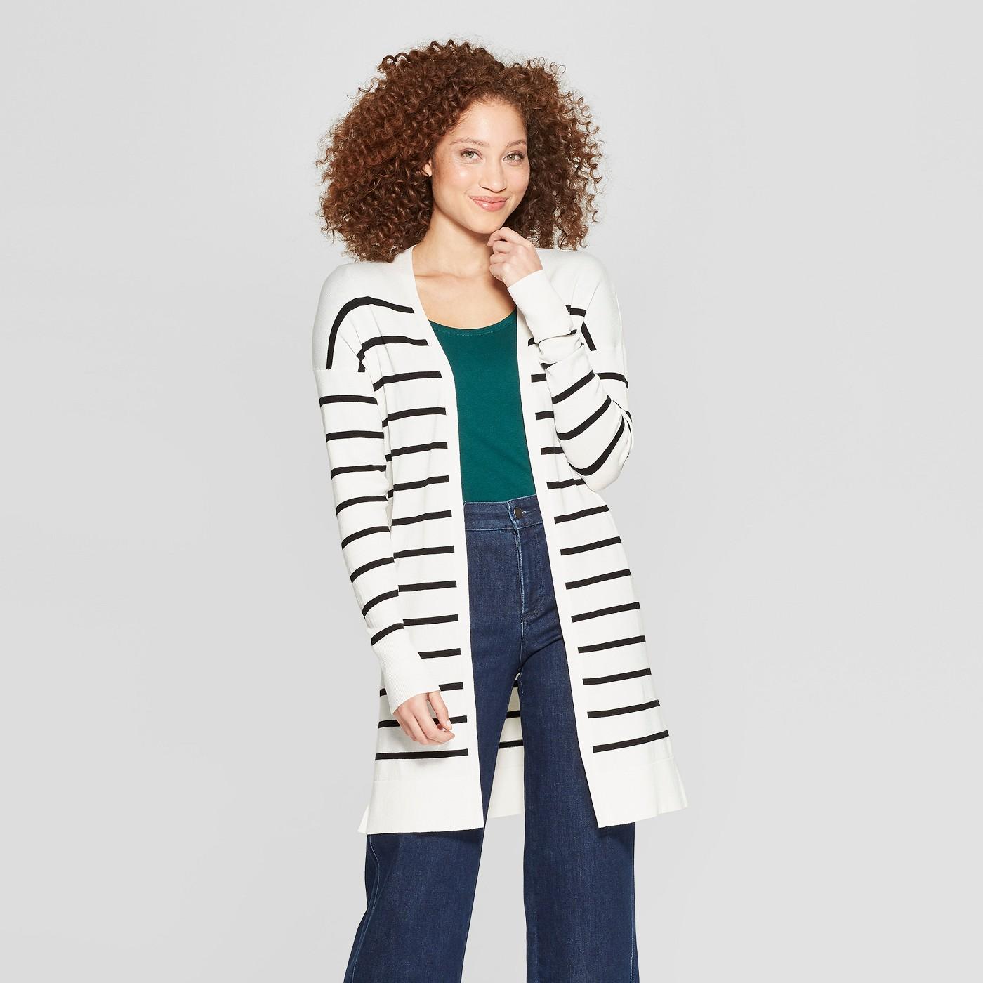 "Women's Striped Long Sleeve Open Cardigan - A New Dayâ""¢ - image 1 of 3"