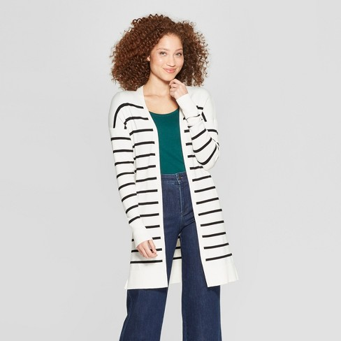 Women s Striped Long Sleeve Open Cardigan - A New Day™ Cream Black ... 157a10843