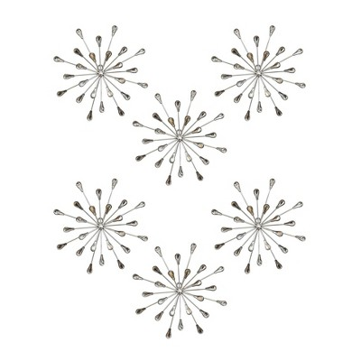 Stratton Home Decor Hand Painted Acrylic Bursts Modern Contemporary Decorative Hanging Home Elegant Wall Art Set, Silver (6 Pack)