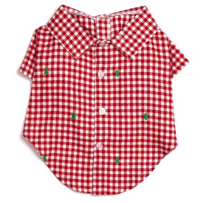 The Worthy Dog Flannel Check Plaid Embroidered Trees Button Up Look Pet Shirt