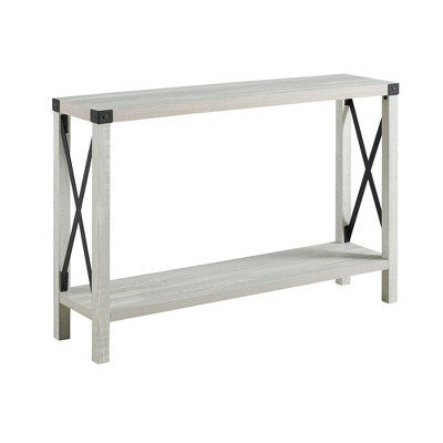 X Side Cozy Industrial Farmhouse Entryway Table Stone Gray - Saracina Home
