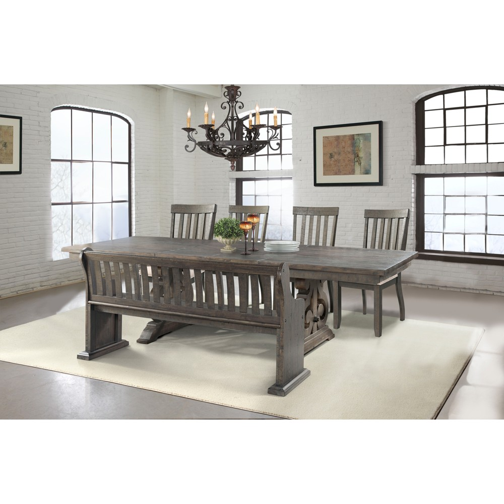 Stanford 6pc Dining Set Table, 4 Side Chairs And Pew Bench Dark Ash/Cream - Picket House Furnishings