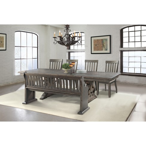 Pleasing Stanford 6Pc Dining Set Table 4 Side Chairs And Pew Bench Dark Ash Cream Picket House Furnishings Andrewgaddart Wooden Chair Designs For Living Room Andrewgaddartcom