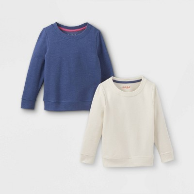 Toddler Girls' 2pk Fleece Pullover Sweatshirt - Cat & Jack™ Cream/Navy
