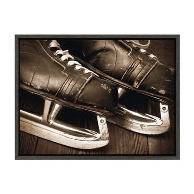 "18"" x 24"" Sylvie Leather Hockey Skates Framed Canvas By Shawn St. Peter Gray - DesignOvation"