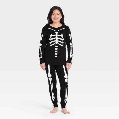 Women's Halloween Skeleton Matching Family Pajama Set - Black