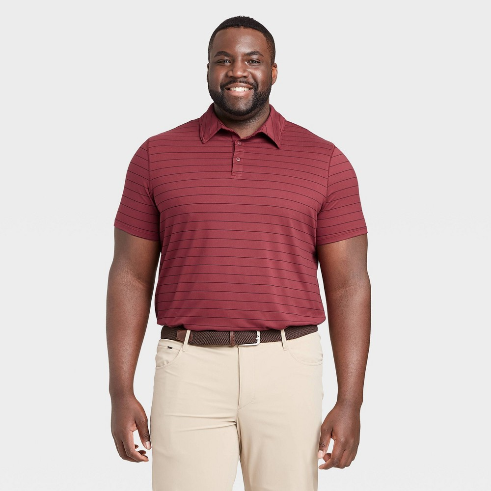 Men's Striped Golf Polo Shirt - All in Motion Red XL was $24.0 now $12.0 (50.0% off)