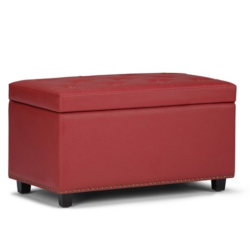 Reese Storage Ottoman Bench Crimson Red Faux Leather - Wyndenhall - image 1 of 4